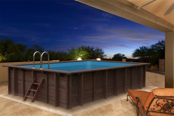 Holzpool Blockbohlen-Bausatz 6x4m Schwimmbecken Swimmingpool Gartenpool