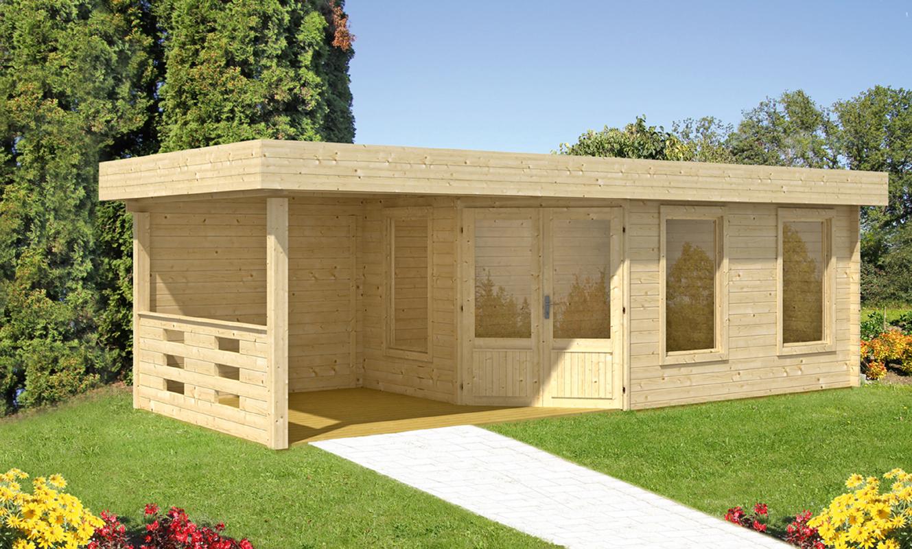 Gartenhaus Flachdach «20x20cm mit Terrasse 20 cm Fünf Eck ...