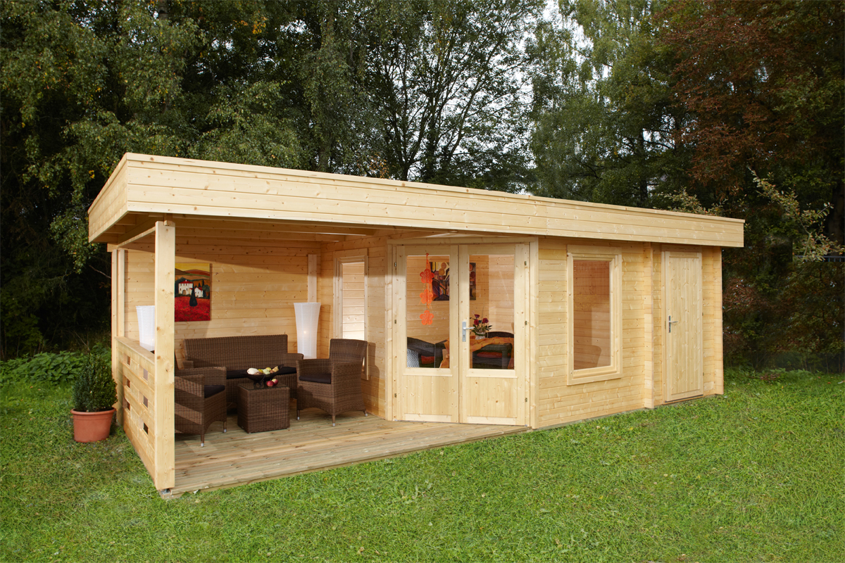 Gartenhaus WOLFF Finnhaus Maja 40-B/2 mit Terrasse 250 ...