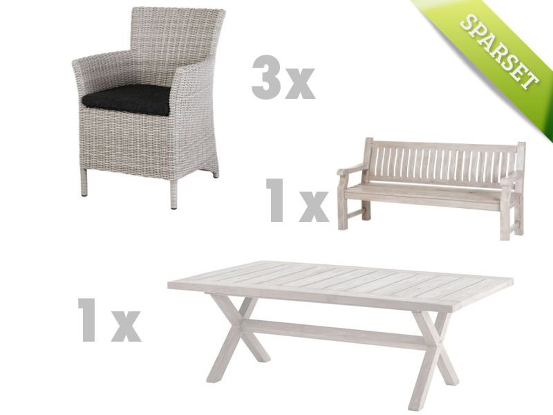 Gartensitzgruppe DIAMOND GARDEN Azure-Boulogne Rattan-Geflecht mit Holztisch