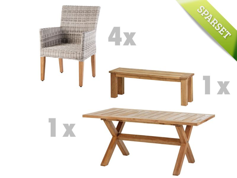 holztisch mit bank gartentisch holz akazie 180 cm im greenbop online shop kaufen. Black Bedroom Furniture Sets. Home Design Ideas