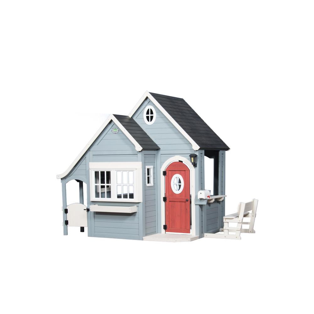 Holz-Kinderspielhaus Hamptons-Villa offener Fachwerkstil grün 335x210cm
