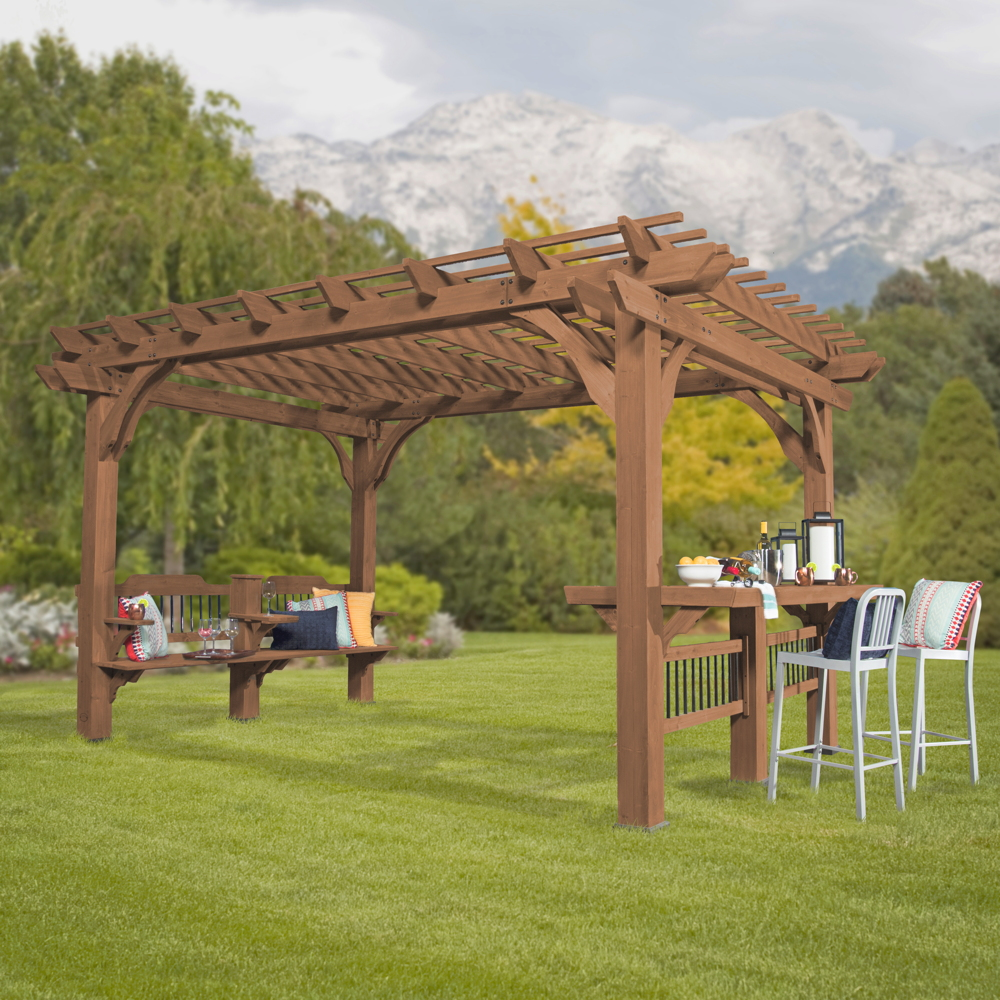 boxxis pergola pavillon viereckig mittelbraun lasiert 188x165x170 100 zeder vom garten. Black Bedroom Furniture Sets. Home Design Ideas