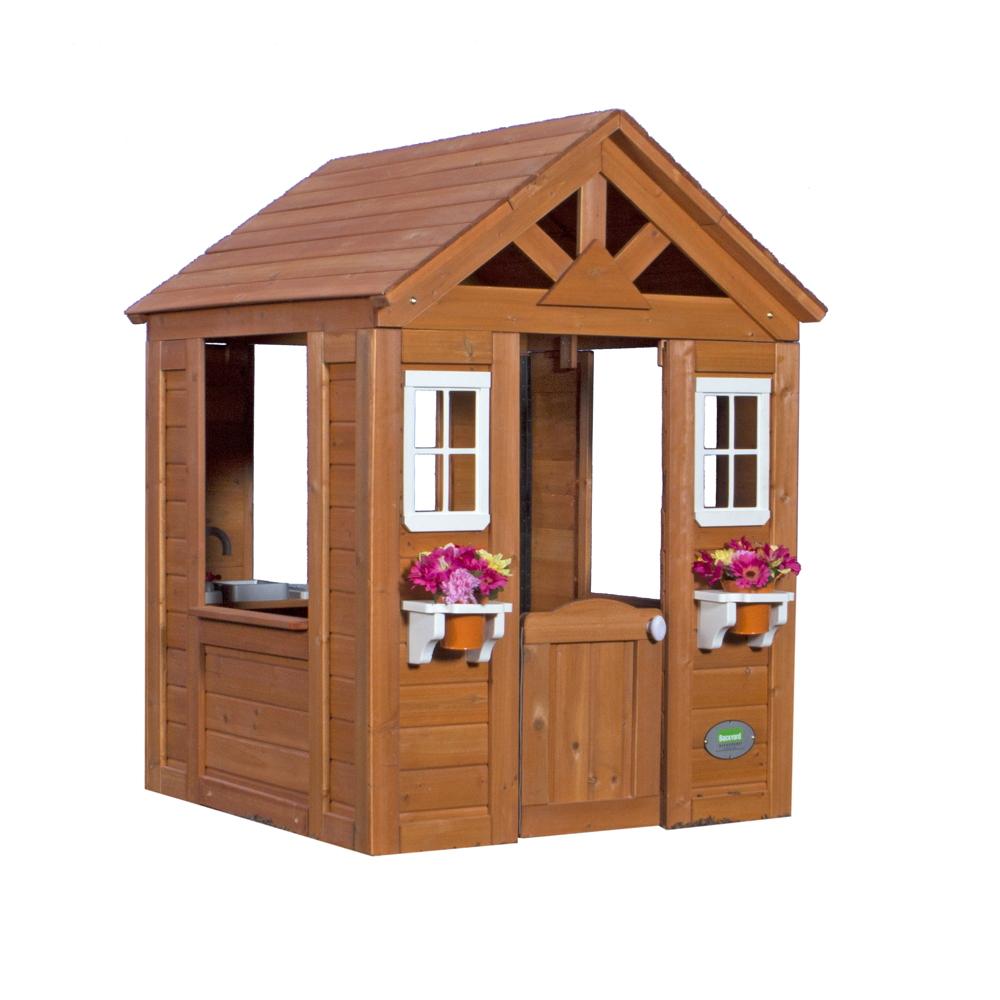 Holz-Kinderspielhaus Timberlake offener Fachwerkstil braun 107x117cm