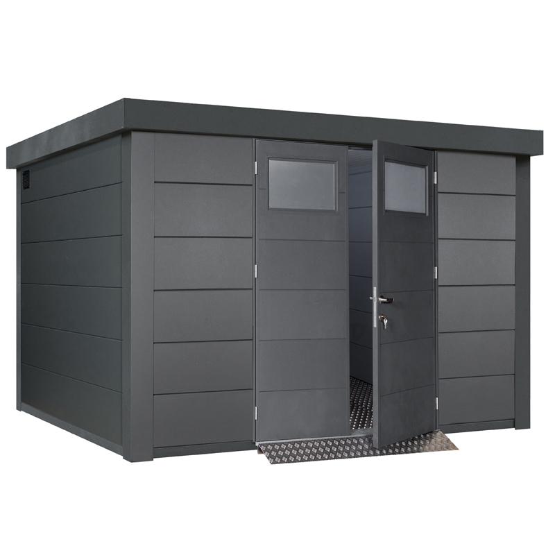Beliebt Gerätehaus Flachdach Metallgerätehaus «328x298 granitgrau UZ55