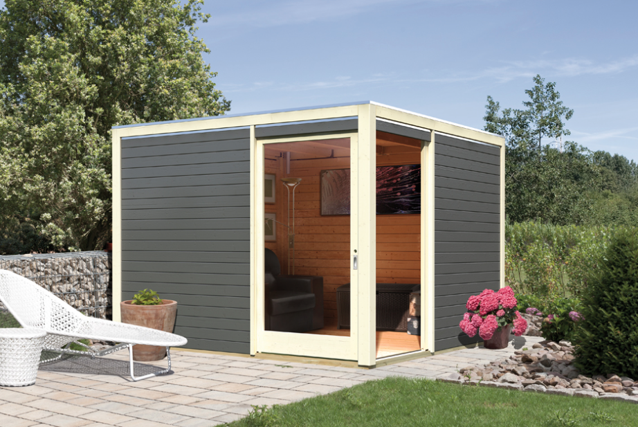 Gartenhaus KARIBU CUBUS mit Eckt�r Holz Haus Bausatz Flachdach