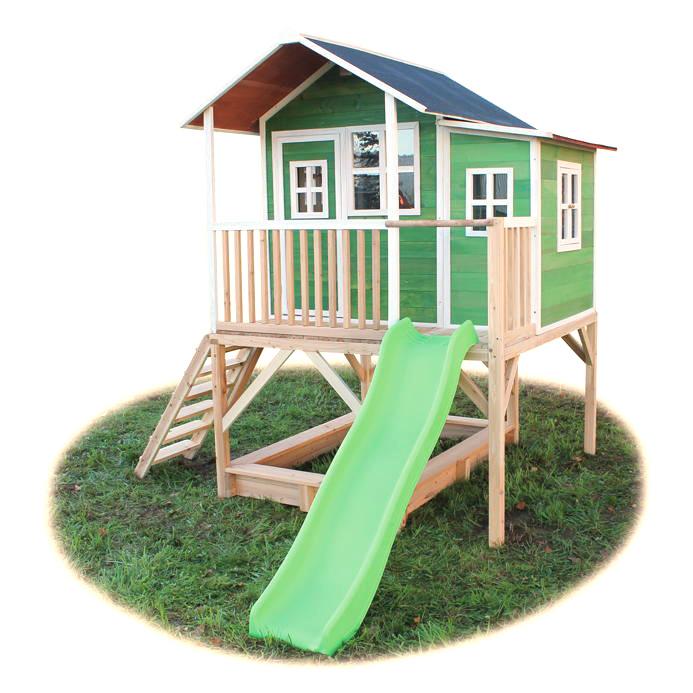 Turbo Holz-Kinder-Spielhaus Stelzen-Kinderspielhaus Stelzenhaus grün OE83