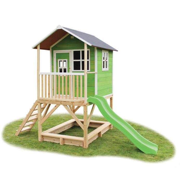 ca5b2315c5 Holz-Kinder-Spielhaus Stelzen-Kinderspielhaus Stelzenhaus grün Rutsche  Sandkiste