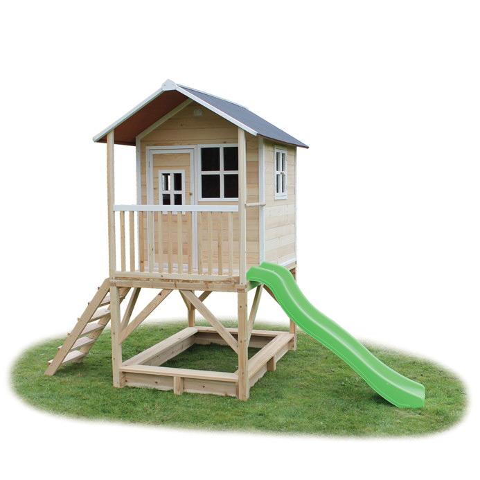 Kinder-Spielhaus hohes Stelzen-Kinderspielhaus Stelzenhaus natur mit Rutsche