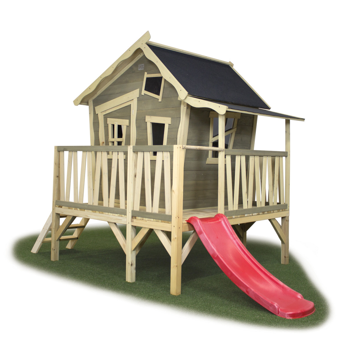 Kinder-Spielhaus EXIT Crooky 350 Holzhaus Stelzenhaus mit großer Veranda