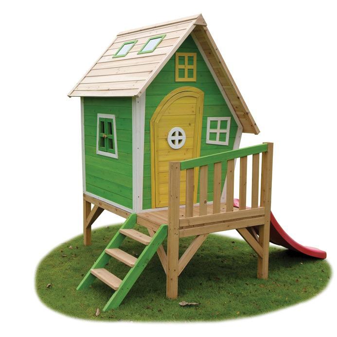 Kinder-Spielhaus Holz EXIT Fantasia 300 Kinderspielhaus Stelzenhaus grün