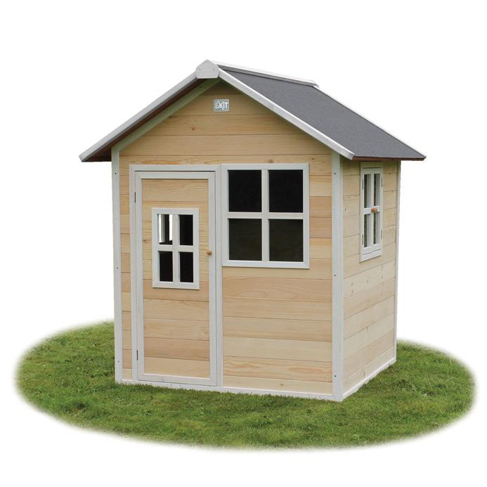Kinder-Spielhaus mit Tür und Fenster Kinderspielhaus hellbraun Holzhaus 140x140cm