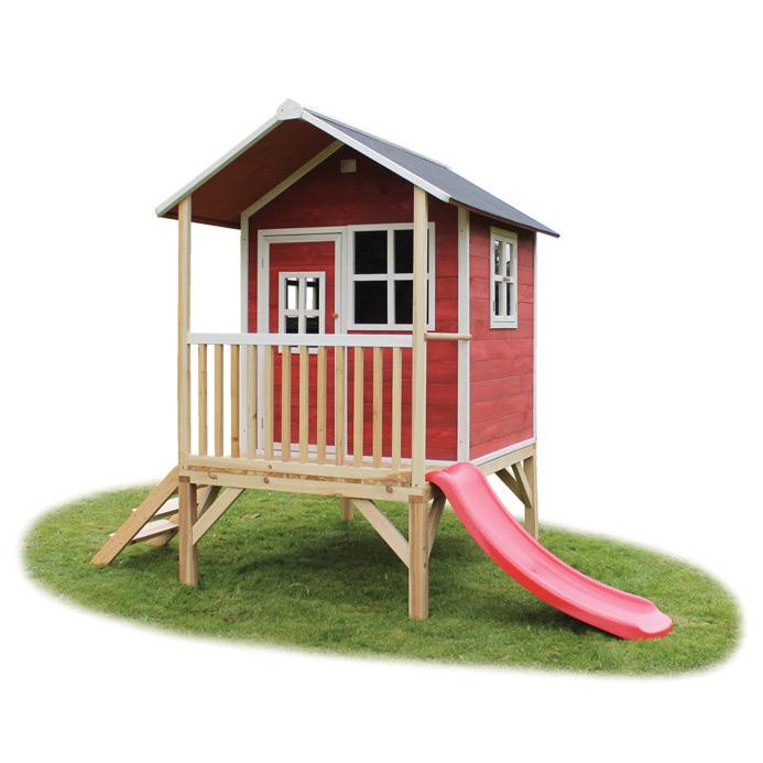 Fabulous Holz-Kinder-Spielhaus Stelzen-Kinderspielhaus Stelzenhaus rot JI82
