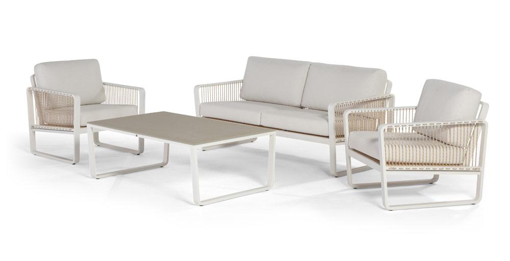 Gartentstuhl «Largo» Lounge Sessel, Aluminiumstuhl mit Kissen ...