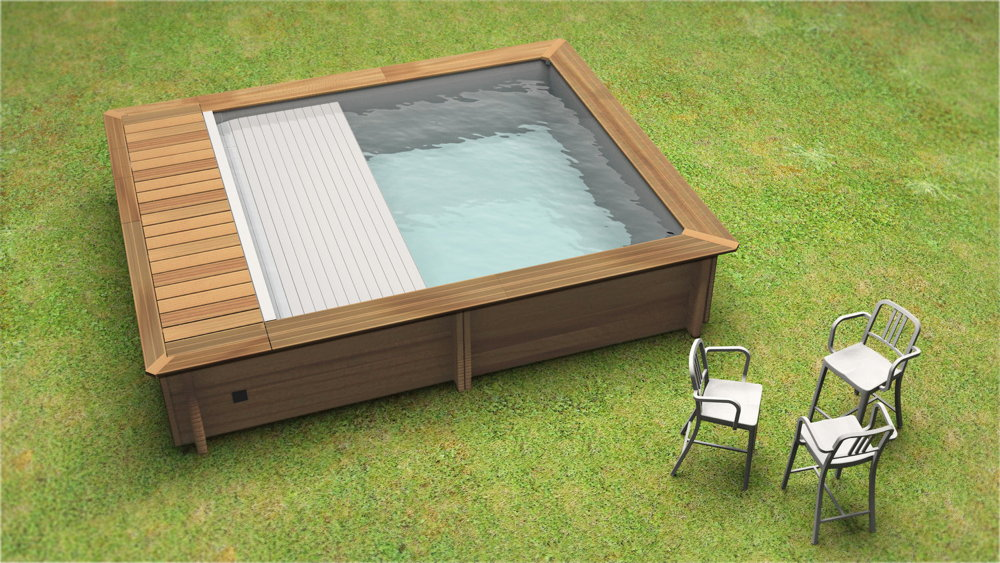 Holzpool HOODY 4.2x3.5m Swimmingpool Gartenpool automatisch Abdeckung-Rollo