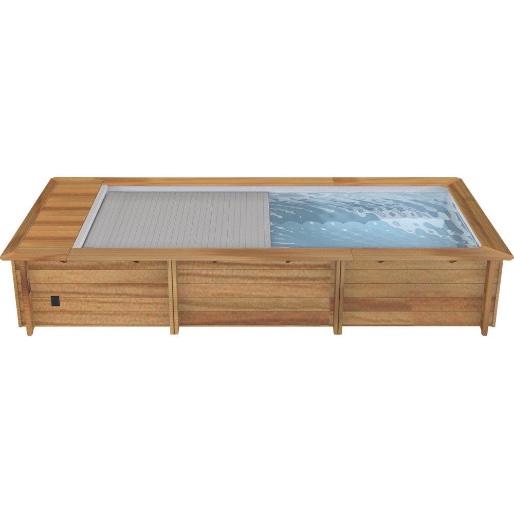 Holzpool HOODY 6.0x2.5m Swimmingpool Gartenpool automatisch Abdeckung-Rollo