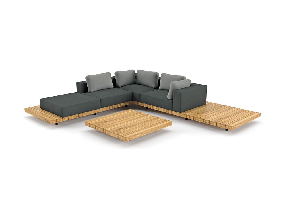 Gartenstuhl SOLPURI «PLATEAU Loungemöbel-Sitzgruppe 1», Teakholz ...