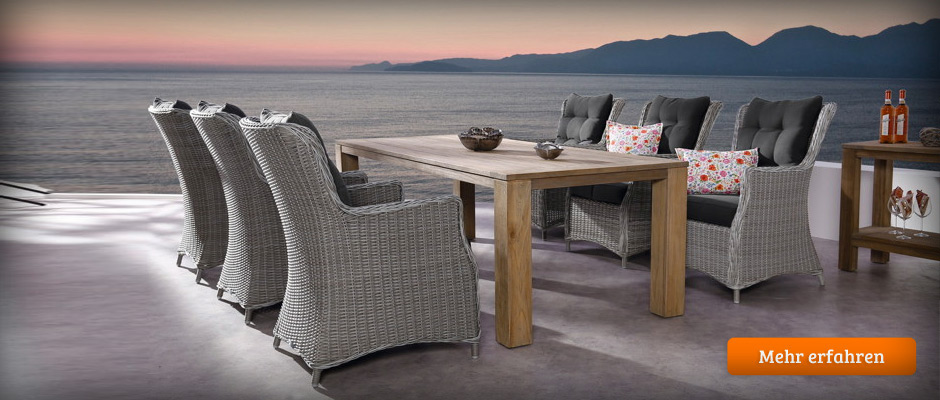 gartenm bel polyrattan teak holz aluminium edelstahl kunststoff. Black Bedroom Furniture Sets. Home Design Ideas