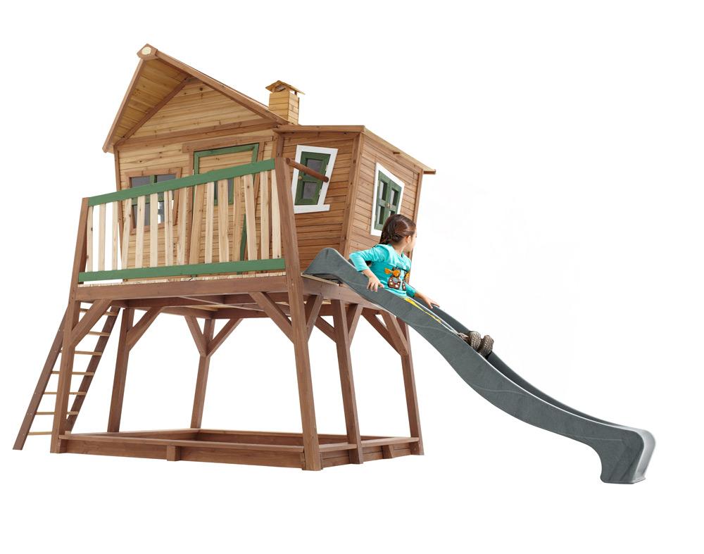 Kinder-Holz-Spielhaus groß und hoch Comic Kinderspielhaus auf Stelzen, Rutsche