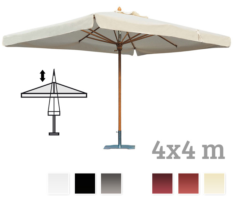 sonnenschirm scolaro palladio telescopic 4x4 stockschirm holzschirm parasol vom garten. Black Bedroom Furniture Sets. Home Design Ideas