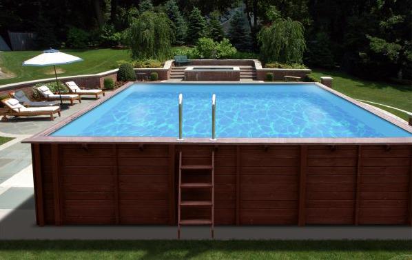 Holzpool 8x5m Mega-Schwimmbecken Blockbohlen-Bausatz Swimmingpool Gartenpool