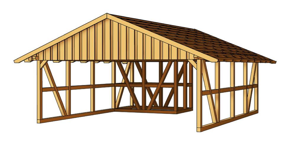 Holz-Carport SKANHOLZ Fachwerk mit Abstellraum Doppelcarport Gr. 1 | vom  Garten-Fachhändler