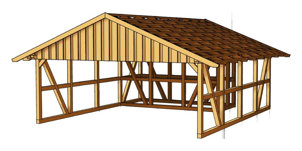 Holz carport skanholz fachwerk mit abstellraum - Abstellraum garten ...