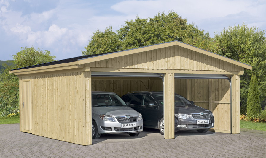 Garage mit carport aus holz  Garage SKANHOLZ «Falun» Doppelgarage Holzgarage Bausatz ...