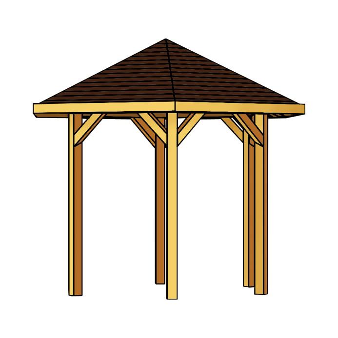 pavillon skanholz nancy 6 eck pavillion holzpavillon. Black Bedroom Furniture Sets. Home Design Ideas