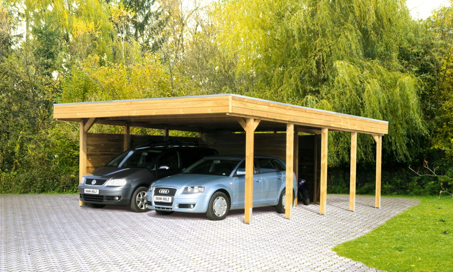holz carport bausatz skanholz friesland flachdach doppelcarport premium carports aus holz. Black Bedroom Furniture Sets. Home Design Ideas