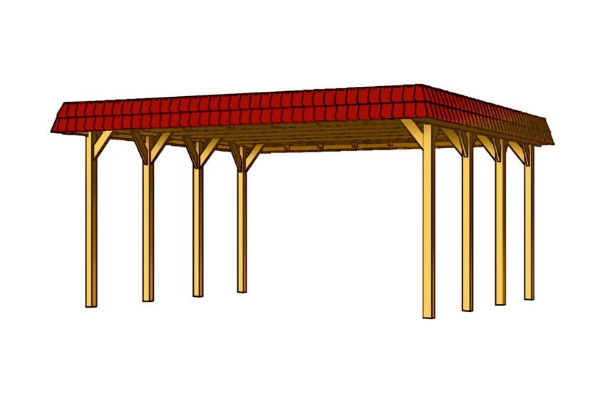 holz carport skanholz flachdach walmdach einzelcarport gr 4 vom garten fachh ndler. Black Bedroom Furniture Sets. Home Design Ideas