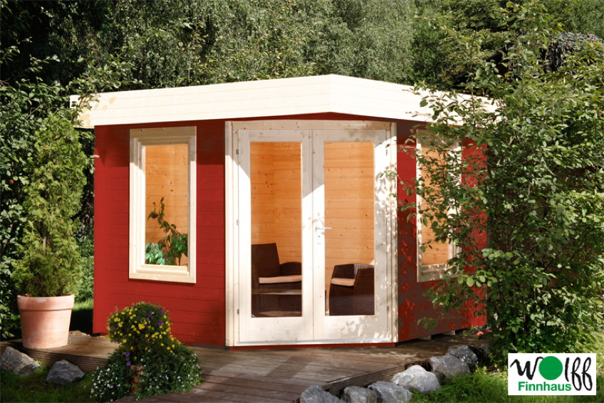 gartenhaus flachdach wolff 280x280cm f nf eck holz haus. Black Bedroom Furniture Sets. Home Design Ideas