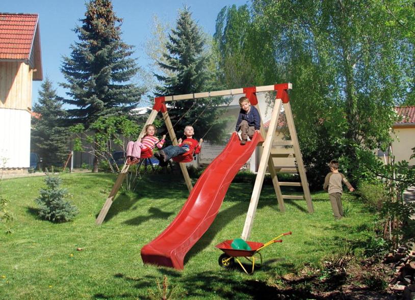 Kinder-Schaukel WEKA RED POINT Sunny|Funny 2 Doppelschaukel Holz mit Rutsche
