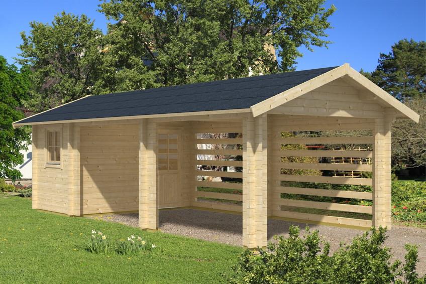 Holz-Carport-Bausatz SKANHOLZ Stockholm mit Anbauschuppen Massivholz-Bauweise