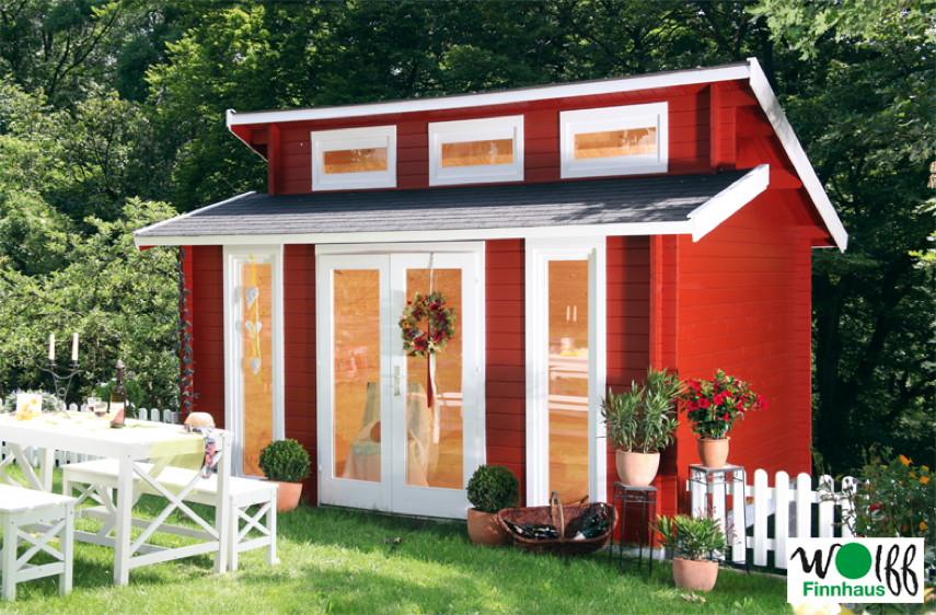 Gartenhaus 400x310cm Holzhaus Bausatz 40mm isolierverglast Stufendach