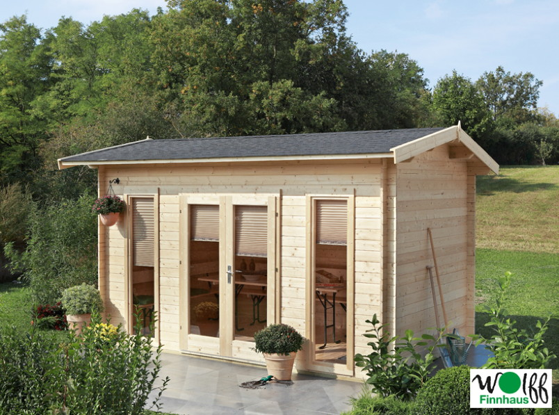 Gartenhaus 410x240cm Holzhaus Bausatz mit großer Fensterfront Satteldach