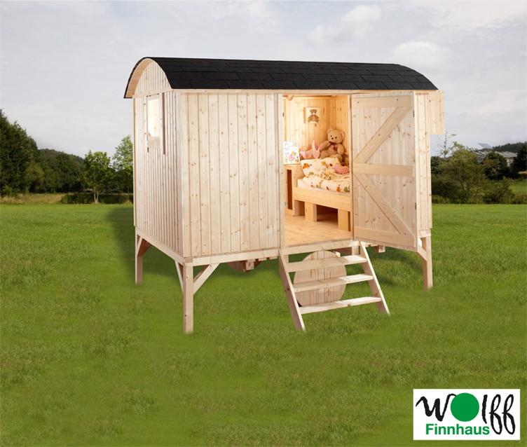 Kinderspielhaus WOLFF Camping Bauwagen Holz Stelzen Gartenhaus Gartenspielhaus