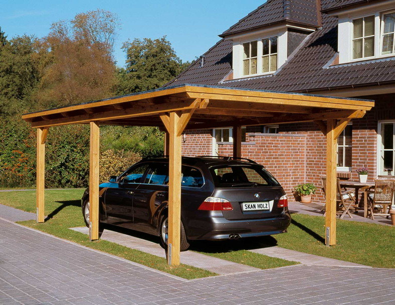 holz carport bausatz skanholz emsland flachdach einzelcarport leimholz carports aus holz. Black Bedroom Furniture Sets. Home Design Ideas