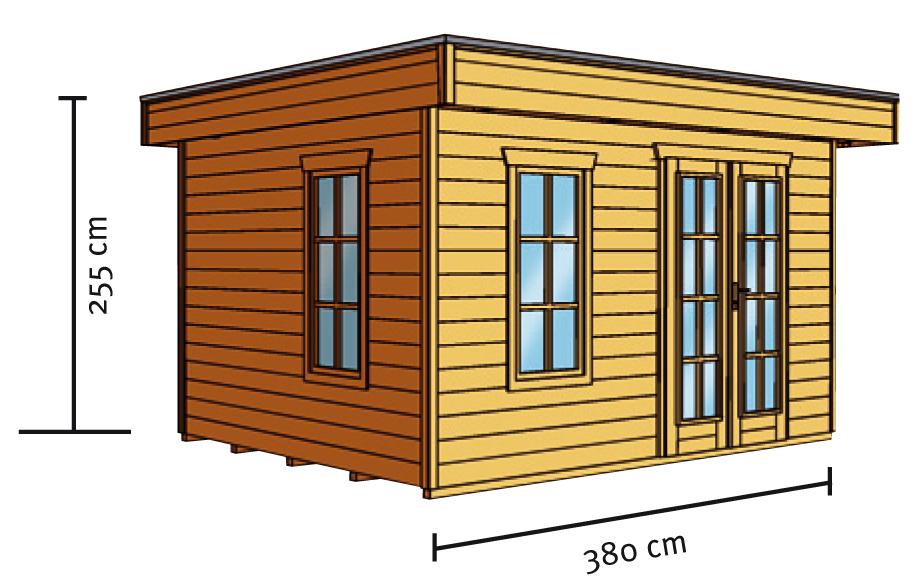 Gartenhaus SKANHOLZ «Breda» Flachdach-Holzhaus Mit Fenster