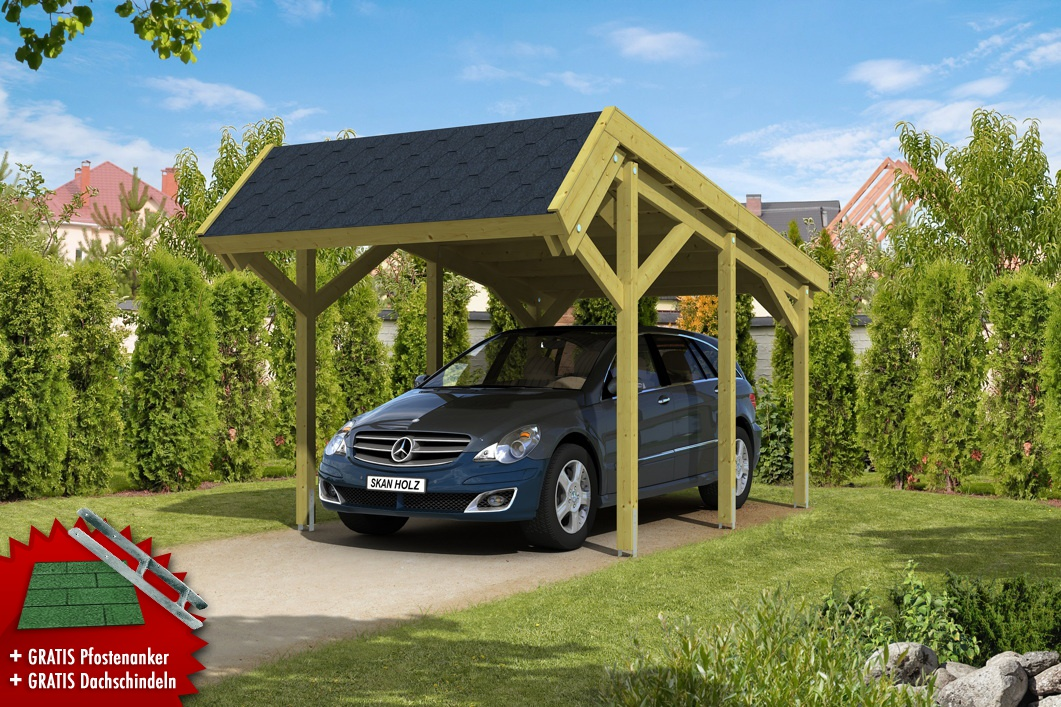 Holz-Carport SKANHOLZ «Harz» Pultdach Einzelcarport | vom Garten ...