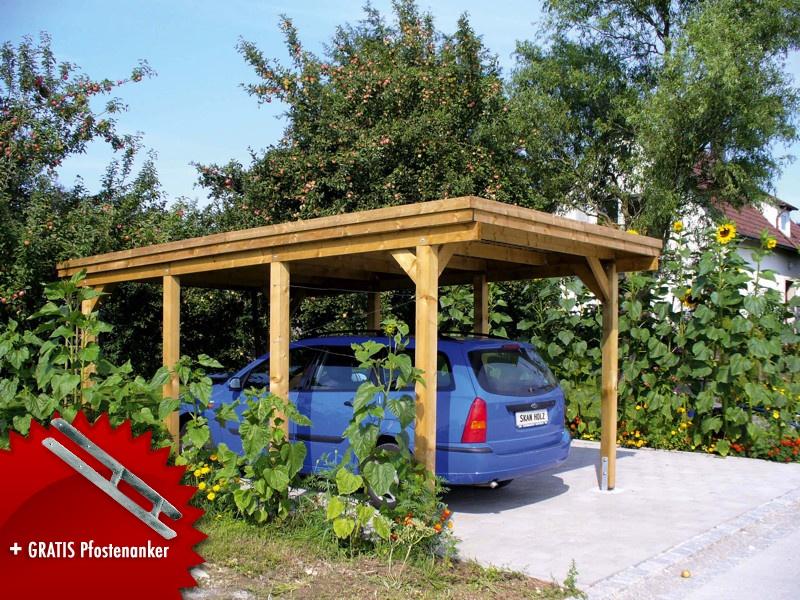 Holz-Carport SKANHOLZ Holstein Flachdach Einzelcarport