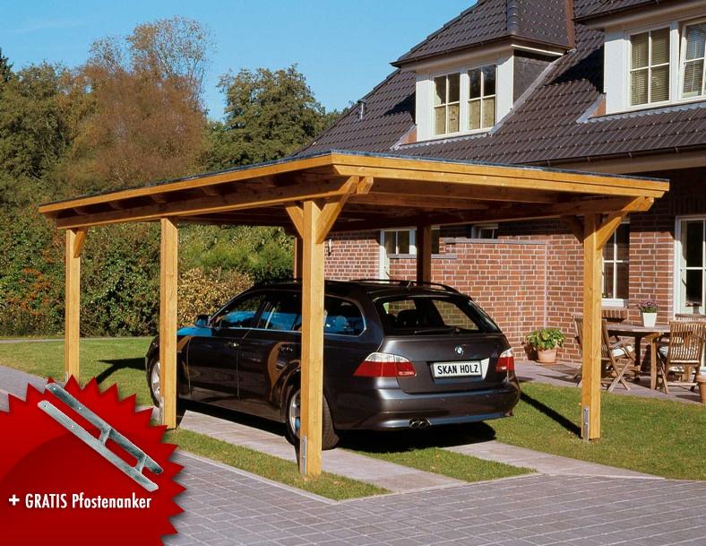 Holz-Carport-Bausatz SKANHOLZ Emsland Flachdach Einzelcarport Leimholz