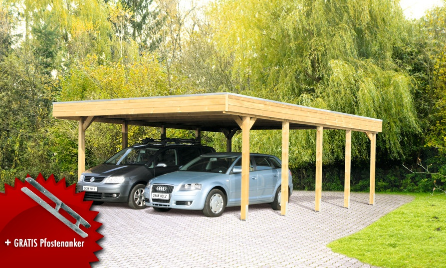 Holz-Carport-Bausatz SKANHOLZ Friesland Aluminiunmdach Flachdach Doppelcarport