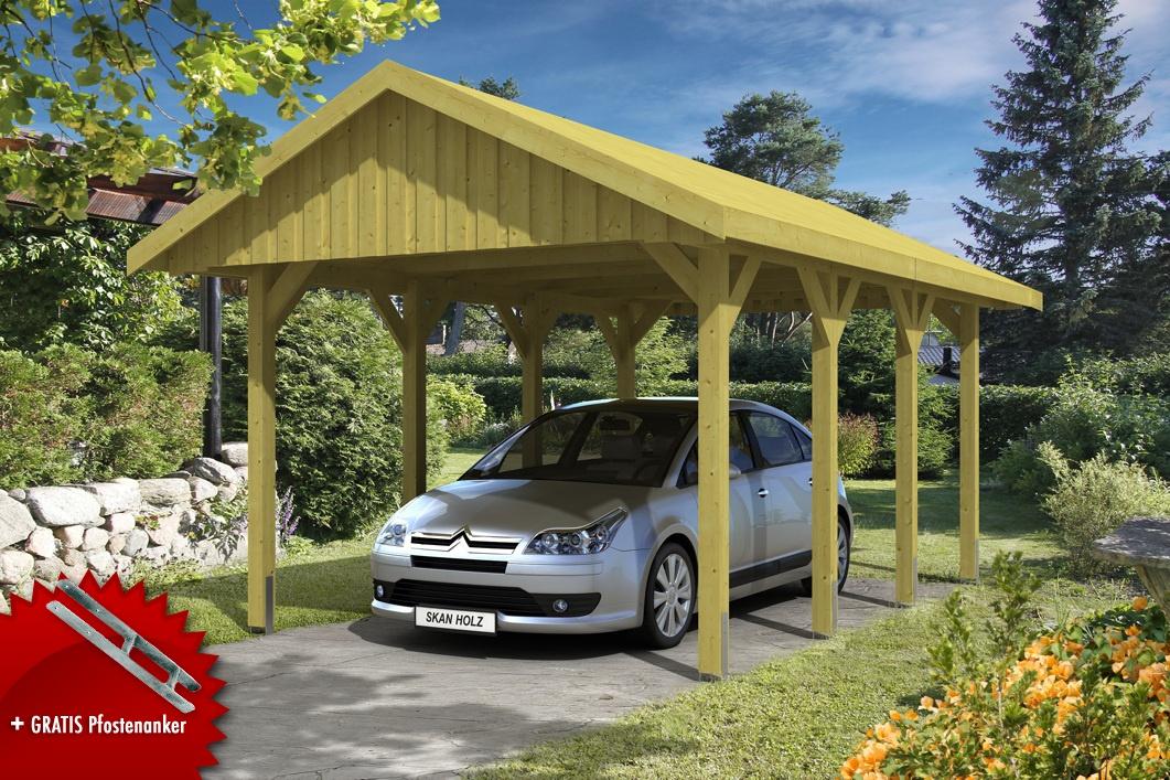 Holz-Carport SKANHOLZ Sauerland Einzelcarport mit Dachschalung Satteldach