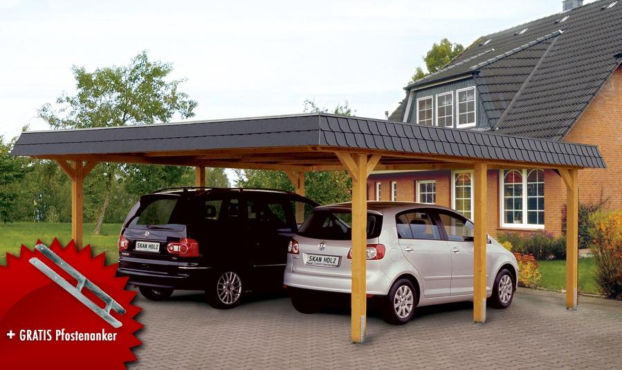 Holz-Carport SKANHOLZ Wendland Walmdach Doppelcarport