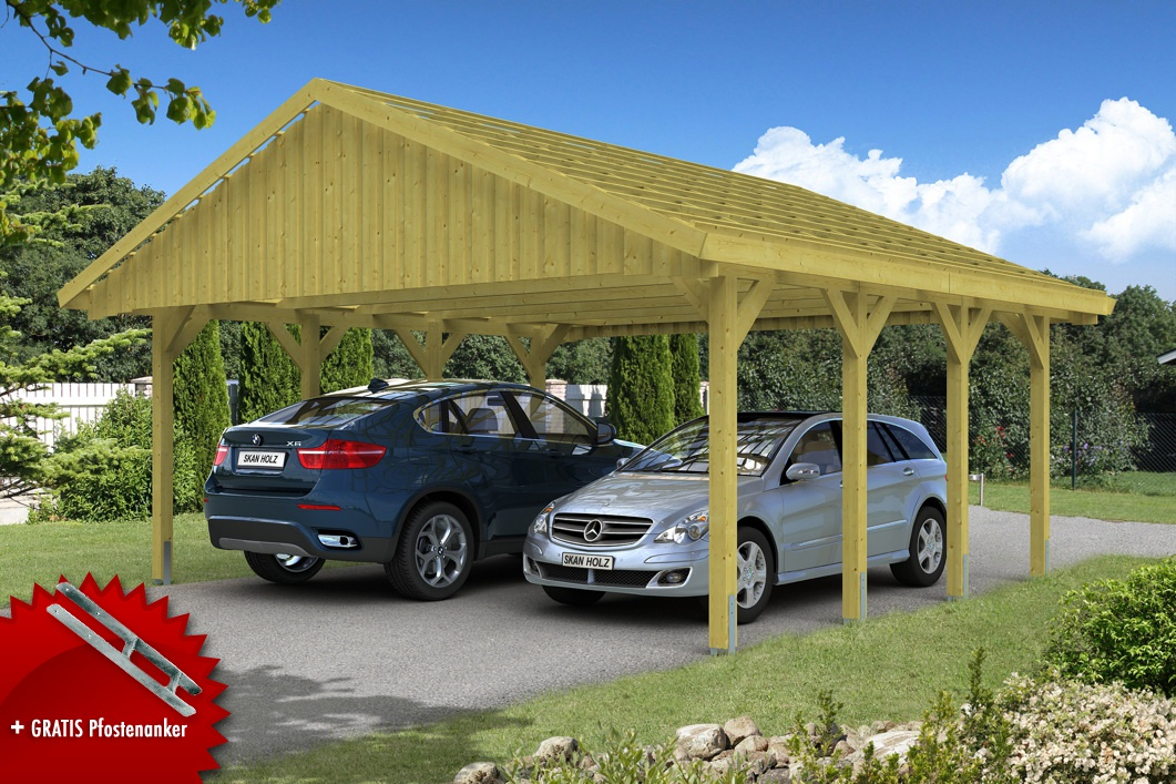 holz carport skanholz sauerland doppelcarport mit dachlattung satteldach holz angebot. Black Bedroom Furniture Sets. Home Design Ideas