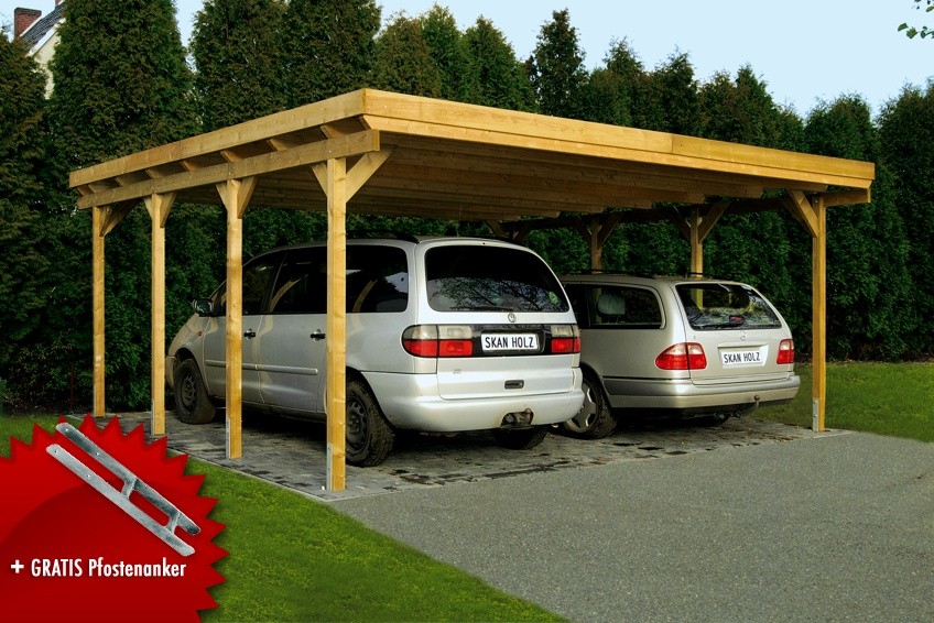 Holz-Carport SKANHOLZ Holstein Flachdach Doppelcarport