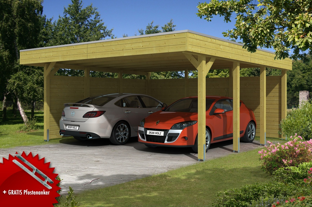 Holz-Carport-Bausatz SKANHOLZ «Friesland Aluminiumdach» Doppelcarpot ...