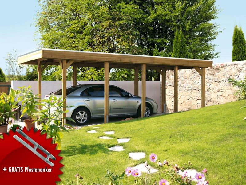 Holz-Carport-Bausatz SKANHOLZ Friesland Aluminiumdach Flachdach Einzelcarport