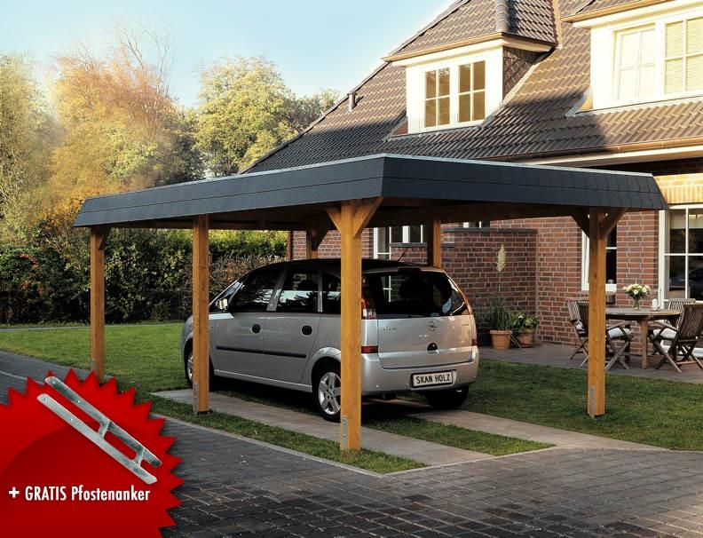 Holz-Carport SKANHOLZ Wendland Walmdach Einzelcarport